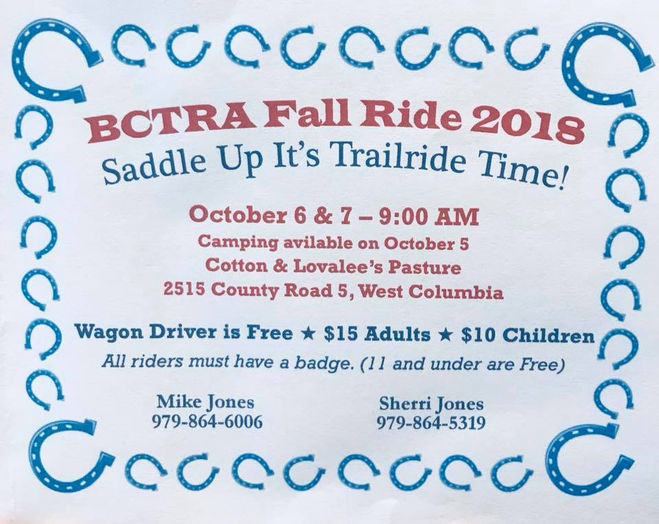 Events| BCTRA Brazoria County Fall Trail Ride 2018 | Texas Horse